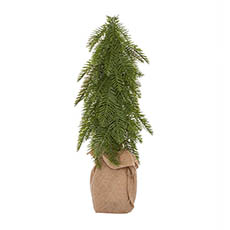Tabletop Christmas Trees - Christmas Tree Burlap Wrapped Real Touch Green (50cmH)