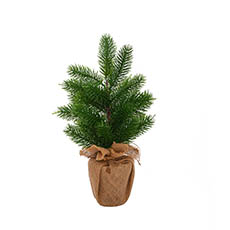 Tabletop Christmas Trees - Christmas Pine Mini Burlap Wrapped Real Touch Green (40cmH)