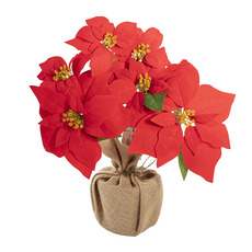 Christmas Flowers - Poinsettia Potted Burlap Wrapped 6 Flowers Red (38cmH)