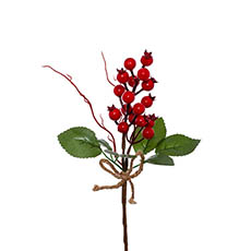 Christmas Flowers - Berry with Leaves Pick Pack 4 Red (25cm)