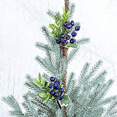 Christmas Flowers - Berry with Leaves Pick Pack 4 Blue (25cm)