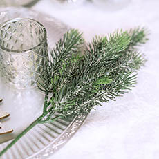 Christmas Flowers - Frosted Canadian Pine Spray Real Touch Grey (36cmH)