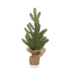 Tabletop Christmas Trees - Evergreen Pine Burlap Wrapped Real Touch Green (36cmH)