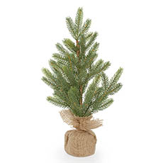 Tabletop Christmas Trees - Evergreen Pine Burlap Wrapped Real Touch Green (45cmH)
