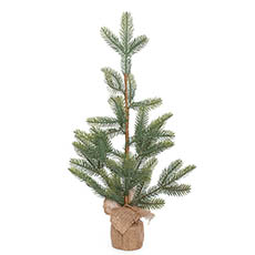 Tabletop Christmas Trees - Fir Pine Burlap Wrapped Real Touch Green (60cmH)