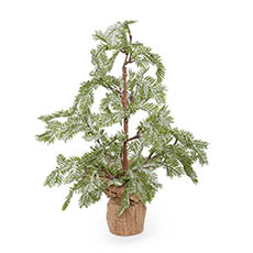 Tabletop Christmas Trees - Frosted Fern Pine Burlap Wrapped Real Touch Grey (50cmH)