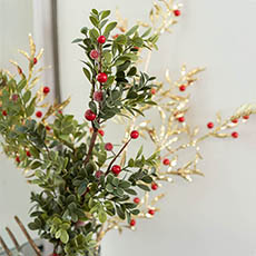 Christmas Flowers - Boxwood with Red Berry Spray Green (70cmH)