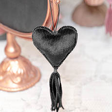 Christmas Tree Decorations - Hanging Fabric Heart with Tassel Grey (10cm)