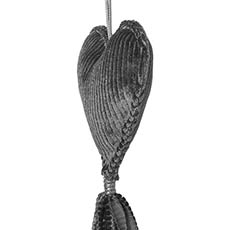 Hanging Fabric Heart with Tassel Grey (10cm)