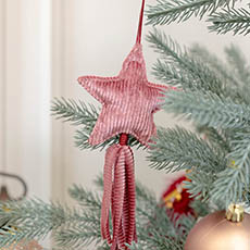 Christmas Tree Decorations - Hanging Fabric Star with Tassel Pink (10cm)