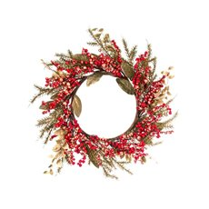 Gold Leaf Berry Wreath Red (50cmD)