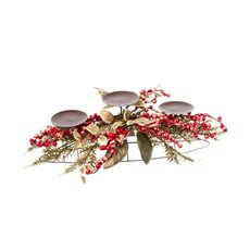 Gold Leaf Berry Candle Arrangement Red (55cm)