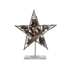 Star Decoration with Baubles Silver (30x45cmH)