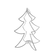 Metal Tree Candle Decoration Silver (24x43.5cmH)