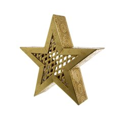 Large Metal Star Decoration Gold (36.5x36.5cmH)
