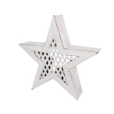 Large Metal Star Decoration Antique White (36.5x36.5cmH)