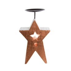 Star Candle Holder Copper with White Trim (13.5x24cmH)