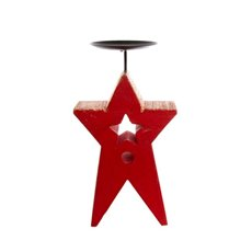 Star Candle Holder Red with Gold Trim (13.5x24cmH)
