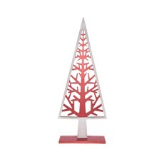 Coral Tree Silhouette Decoration Red White (20.5x52cmH)