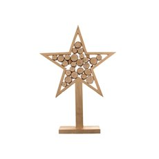 Wooden Star Log Decoration Natural (27x6x37.5cmH)