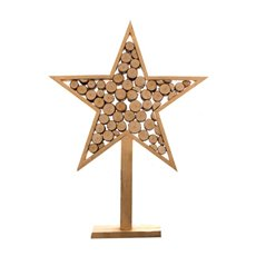 Wooden Star Log Decoration Natural (36x6x48cmH)
