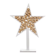 Wooden Star Log Decoration White (36x6x48cmH)