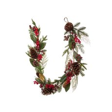 Pomegranate Berry Pine Cone Garland Red (150cm)