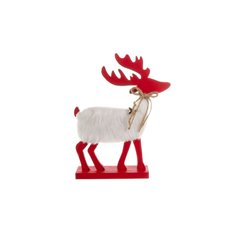 Wooden Reindeer Decoration Red (19x5x24cmH)