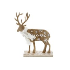 Wooden Ornament Snowflake Reindeer Natural (15.5x5x18cmH)