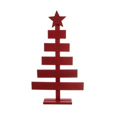 Wooden Ornament Tree Red (29x6x51cmH)