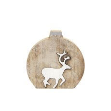 Wooden Ornament Cut-Out Reindeer White (17x17cmH)