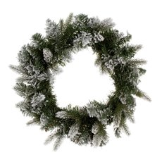 Lush Needle Pine Snow Wreath White (50cmD)