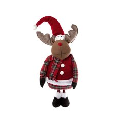 Fabric Reindeer Decoration Red (61cmH)