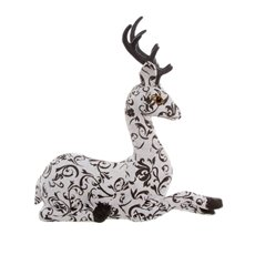 Filigree Paper Reindeer Decoration White and Black (32cm)