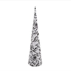 Filigree Paper Cone Tree White and Black (10cmx40cmH)