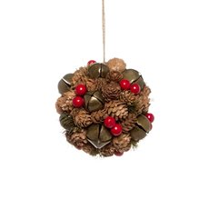 Pinecone and Bell Hanging Ball (13cmD)