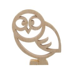 Wooden Owl Ornament with Gold Trim Natural (17x23cmH)