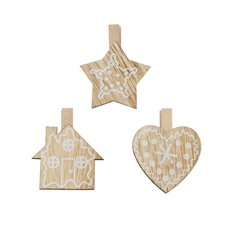 Christmas Tree Decorations - Peg Decoration Star House Heart Assorted Set 9 Natural