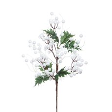 Berry and Holly Large Leaf Spray White Green (45cmH)