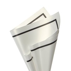 Regal Pearl Wrap Pattern - Cello Regal Pro Border 65mic 100Pk White Blk (50x70cm)