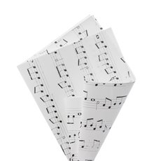 Regal Pearl Wrap Pattern - Cello Regal Pro Music Notes 65mic White Blk (50x70cm) Pk 100