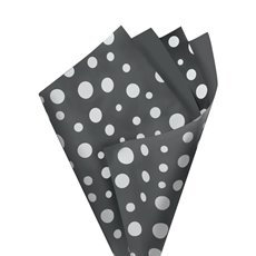 Regal Pearl Wrap Pattern - Cello Regal Scatter Dots 65mic Charcoal White(50x70cm)Pk 100