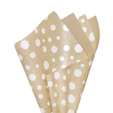 Regal Pearl Wrap Pattern - Cello Regal Scatter Dots 65mic Wht Kraft look(50x70cm)Pk 100