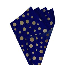 Regal Pearl Wrap Pattern - Cello Regal Scatter Dots 65mic Navy Blue Gold(50x70cm)Pk 100