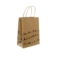 Kraft Paper Bag Christmas Forest 5Pack Black (355mmHx240x120