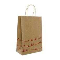 Kraft Paper Bag Christmas Forest 5Pack Red (355mmHx240x120)