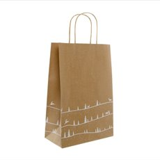 Kraft Paper Bag Christmas Forest 5Pack White (355mmHx240x120