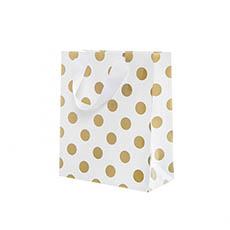 Paper Bag Bold Dots Pack 5 Small Gold (180Wx85Gx215mmH)
