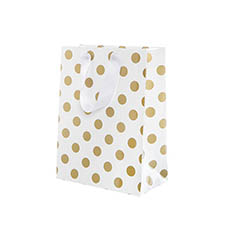 Glossy Gift Carry Bags - Paper Bag Bold Dots Medium Gold (205Wx110Gx275mmH) Pack 5