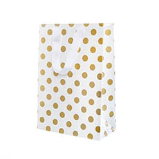 Glossy Gift Carry Bags - Paper Bag Bold Dots Large Gold (240Wx120Gx355mmH) Pack 5